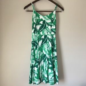 Old Navy Tropical Leaf Print Fit and Flare Dress